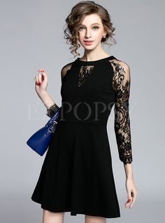 Shop for high quality Lace Patch Hollow Slim Cotton Dress online at cheap prices…