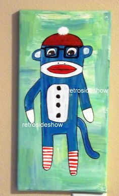 Nerd Geeky Sock Monkey Painting Original Acrylic Painting on Canvas $65.00 #handmade #thecraftstar