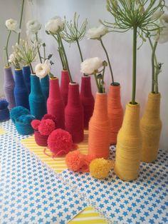 Beautifully wrapped vases... Jolis vases emballés de laine...