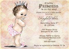 Vintage Baby Shower Invitation For Girl - Princess - Crown - Pink - DIY Printable. $13.00, via Etsy.