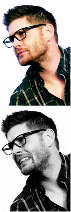 Jensen at Asylum2015, wearing Jeffrey Dean Morgan's glasses <3