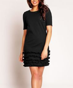 Loving this Nommo Black Ruffle Shift Dress on #zulily! #zulilyfinds