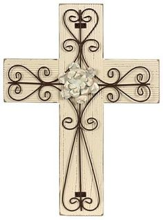 Cream Wood Cross with Metal Flower, Mardel