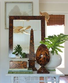 tortoise shell objets from Karen Robertson Decorative Objects, Decorative Accessories, Home Accessories, Horn, Decorating Tips, Interior Decorating, Interior Design, Antique Boxes, British Colonial