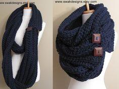 Sciarpa Womens eternità oversize lana sciarpa convertibile Tundra Wrap lungo infinito pulsante sciarpa blu marino o scegliere il vostro preferito di Pinterest colore