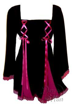 Gemini Princess Top in Black/Fuchsia