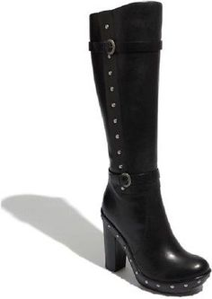 NEW! KORK EASE BAILEY STUD BLACK LEATHER KNEE HIGH BOOT HEELED SHOES SIZE 6.5