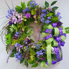 Spring Wreath Purple Wreath Grapevine by BlackandWhiteCandles