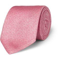 Drake'sHerringbone Silk and Linen-Blend Tie