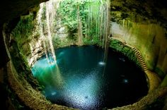 Cenote Ik Kil Location: Yucatan Peninsula, Mexico Ik Kil is one of the many cenotes located in Mexico's Yucatan Peninsula. Cenotes are natural swimming holes formed by the collapse of porous limestone. Belize, Nature Pictures, Cool Pictures, Amazing Photos, Nature Images, Beautiful Pictures, Magic Places, Image Nature, Natural Swimming Pools