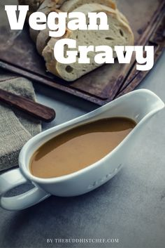 Vegan Gravy   Ingredients 1 tablespoon vegan margarine (15 mL) 1/4 cup all-purpose flour (65 g)  3 cups unsalted vegetable broth (750 mL) 2 tablespoons miso (30 mL) 1 teaspoon onion powder (5 mL) 3 tablespoons soy sauce (45 mL) 1 tablespoon maple syrup (15 mL) 1/4 cup nutritional yeast Black pepper to taste 1/2 teaspoon truffle oil (optional) (2.5 mL) Preparation In a medium saucepan, melt margarine over medium heat. Whisk in flour and cook for 2 minutes. Add broth and bring to a boil…