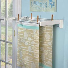 Our Wall-Mounted Clothes Dryer is disguised as a sleek towel bar. This drying rack opens and closes easily to keep your room looking clean and organized. Linen Closet Organization, Laundry Room Organization, Laundry Room Design, Organization Ideas, Laundry Storage, Wardrobe Organisation, Paint Storage, Storage Ideas, Space Saving Storage