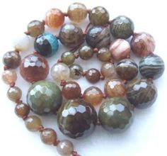 """Crackle 6 20mm Muliti Colour Agate Round Faceted Graduated Beads15"""" 