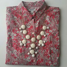 Old Navy button down coral color Classic button down with one pocket.  Washed and never worn.  Perfect for pop of color under cardigan ot sweatshirt Old Navy Tops Button Down Shirts