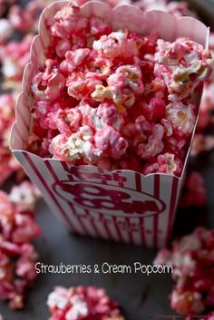 Strawberries & Cream Popcorn  *Serves:8-10  *Ingredients  1 cup corn kernels, popped on the stovetop 1 cup lite corn syrup 1 cup granulated sugar 1 3oz box strawberry jello 2 tablespoons butter 1 bag mini marshmallows 2 ounces butter 1 bag freeze dried strawberries, roughly crushed  *Instructions*  *Preheat oven to 300 degrees F.  *Line two baking sheets with silicone mats.  *Pour popped corn into an extra large heat-proof bowl, or two large bowls.  *In a medium saucepan combine corn…