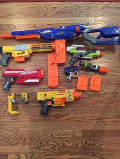 Nerf Gun (6 Guns) Lot Mega Magnus N-Strike Longstrike Modulus Ionfire More