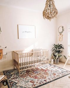 baby girl nursery room ideas 790522540818989090 - Bohemian nursery for baby girl. Rattan chandelier, neutral crib, minimalistic artwork, hand woven patterned rug, potted plants Source by larevuedekathleen Baby Nursery Neutral, Baby Girl Nursery Decor, Nursery Design, Nursery Room, Baby Decor, Baby Nursery Ideas For Boy, Baby Bedroom Ideas Neutral, Baby Nursery Rugs, Dark Nursery