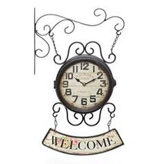 METAL WALL CLOCK IN BROWN COLOR 'WELCOME' 33X11X51 (DOUBLE FACE)