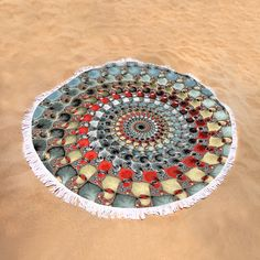"Fractal Pattern Round Beach Towel: Abstract fractal art with red, grey, brown and blue tones. Spiral with digital leaves. This roundie is perfect for a day at the beach, a picnic, an outdoor music festival or just general home decor. This versatile summer essential is a must-have this season! The beach towel is 60"" in diameter and made from ultra-soft plush microfiber with a 100% cotton back. Matthias Hauser hauserfoto.com"