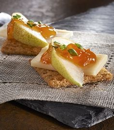 Mom will love these sophisticated cheese & pear topped Sweet Potato TRISCUIT Roasted Sweet Onion Crackers.
