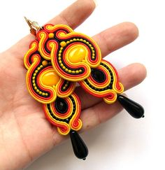 Multicolor big soutache earrings statement colorful by SaboDesign - super long! Great for summer!