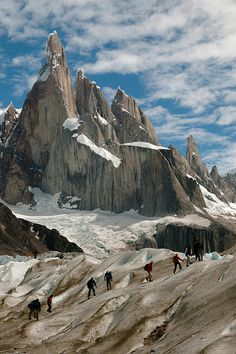 Glacier hike under Cerro Torre Cerro Torre In Los Glaciares National Park, Argentina. en.wikipedia.org/wiki/Cerro_Torre The summit is 3,133 meters. Lrg Resolution Image available Flickr account