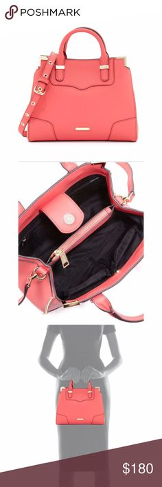 """Rebecca Minkoff Small Amorous Satchel Small satchel in saffiano leather with gold hardware.  Rolled tote handles, 3"""" drop.  Removable, adjustable shoulder strap, 21.5"""" drop.  Open top with reinforced metal corners; snap tab closure.  Stitched exterior panels and reinforced bottom corners.  Decorative zip trim frames structured silhouette.  Divided interior with center zip pocket; fabric lining.  Inside: one zip, one card, and two open pockets.  Beautiful coral color. Rebecca Minkoff Bags…"""
