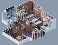 Home plans brick layout 35 Ideas for 2019 3d House Plans, Ranch House Plans, Bedroom House Plans, House Rooms, Bed Rooms, Apartment Layout, Apartment Plans, Apartment Design, Bedroom Apartment