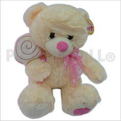 Código: TSP2056 Peluche oso con patitas bordada y paleta dulce