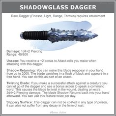 Shadowglass Dagger Home Brew Dnd In 2019 Dungeons, Dragons Piercing piercing damage - # Fantasy Weapons, Fantasy Rpg, Fantasy World, Anime Weapons, Dungeons And Dragons Memes, Dungeons And Dragons Homebrew, Magia Elemental, Pen & Paper, Dnd Funny