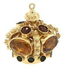 Heavy vintage 18K gold 22.0CTW citrine & Green tourmaline sputnik charm/pendant