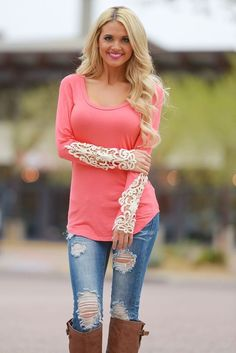 USA SELLER PICK SIZE S M L Crochet Sleeve Lace Coral Boutique Top Shirt Tunic #Unbranded #Tunic #Casual