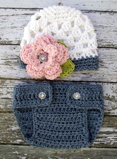 Sophia+Flower+Beanie+and+Matching+Diaper+by+mamamegsyarnshoppe,+$28,00