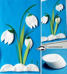 Wattepads - Schneeglöckchen Mehr basteln fensterdeko Three ideas with eye make up remover pads Spring Activities, Craft Activities, Preschool Crafts, Easter Crafts, Crafts For Kids, Children Crafts, Projects For Kids, Diy For Kids, Art Projects
