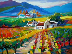 A beautiful artistic drawing of one of our favorite South African vineyards! Landscape Art, Landscape Paintings, Oil Paintings, South African Artists, Naive Art, Artist Painting, All Art, Sculpture Art, Art Drawings