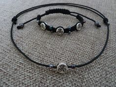 Macrame adjustable bracelet and necklace made by me.    © Sweet Faery