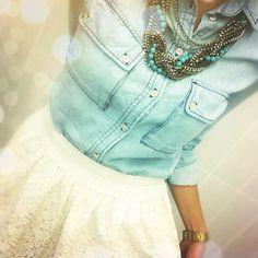 Lace skirt, denim shirt, statement necklace