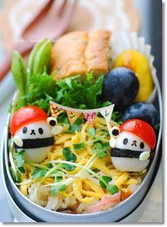 "Mini quail egg & cherry tomato panda "" Do your best!"" bento box"