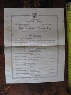 16th Annual Speach Day Wesley College 1925 Wesley College, School Songs, Melbourne, Prayers, Day, Beans
