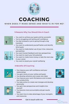 8 Benefits Of Coaching & When You Should Hire A Coach - Infographic Coaching Personal, Coaching Questions, Life Coaching Tools, Leadership Coaching, Online Coaching, Business Coaching, Health And Wellness Coach, Health Coach, Becoming A Life Coach