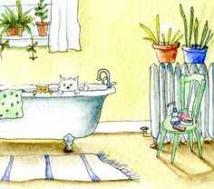 Dog and Cat in the Bathtub