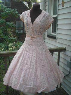 40s Samuel Grossman Pink Sheer Chantilly Lace Full Circle Dress W Rhinestone Ons Bust