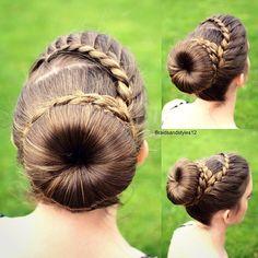 Buns, Bun updo , elegant sock bun hairstyle with a lace  braid