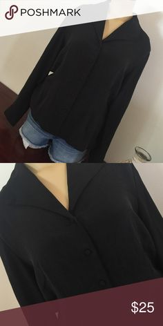100% silk black button up Nordstroms (Preview Collection) 100% silk black button up. Size M Tops Blouses