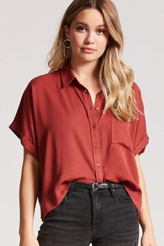 Product Name:Boxy Pocket Shirt, Collared Shirt Outfits, Short Sleeve Collared Shirts, Short Shirts, Collar Shirts, Shirt Blouses, Classy Outfits, Casual Outfits, Fashion Outfits, Metallica Shirt Women