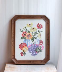 Vintage hand Embroidered Fruit and Flowers Framed for Kitschy Decor by MollyFinds
