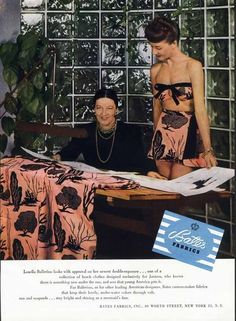 BATHING SUIT AD - 1946 - Bates Fabrics - Louella Ballerino Designer - JANTZEN #Jantzen SwimSuits 40s bikini beach wear pink black color photo print ad vintage fashion style model