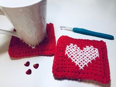 Tunisian Crochet Heart Coasters and Hot Pad - free pattern and video at Rich Textures Crochet