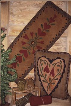 Blooming Hearts Pattern for Wool Applique by TheQuiltShopWI, $6.00