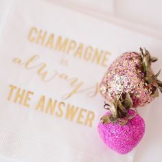 """""""* Because sometimes you just need #pink and #gold #glitter #strawberries to make your day better. Oh, and definitely some #champagne. #TheCarolineDollShop…"""""""